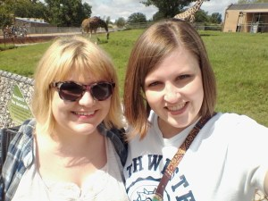 Ashlee and me with some giraffes